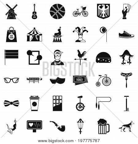 Sport bicycle icons set. Simple style of 36 sport bicycle vector icons for web isolated on white background