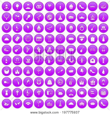 100 banquet icons set in purple circle isolated vector illustration