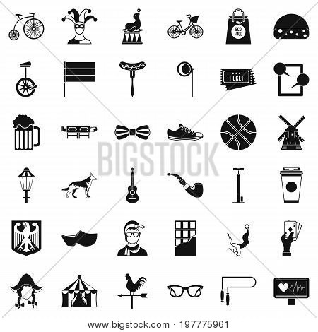 Circus bike icons set. Simple style of 36 circus bike vector icons for web isolated on white background