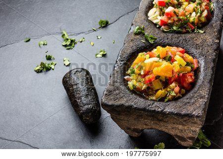 Famous Mexican Sauces Salsas - Pico De Gallo, Salsa Bandera Mexicana In Stone Mortars On Gray Slate