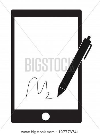 digital signature with stylus pen and mobile phone on white background.