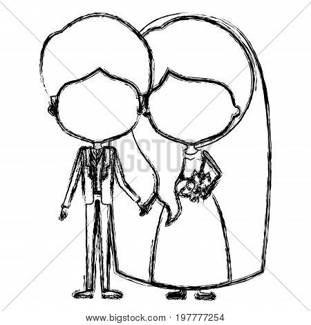 monochrome blurred silhouette of caricature faceless newly married couple groom with formal wear and bride with wavy side long hairstyle vector illustration