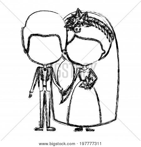 monochrome blurred silhouette of caricature faceless newly married couple groom with formal wear and bride with ponytail side long hairstyle vector illustration