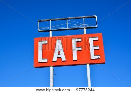 Cafe sign along historic Route 66 in Texas