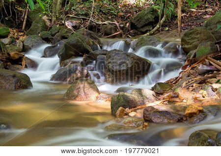 a cascade of water falling from a height, formed when a river or stream flows over a precipice or steep incline.