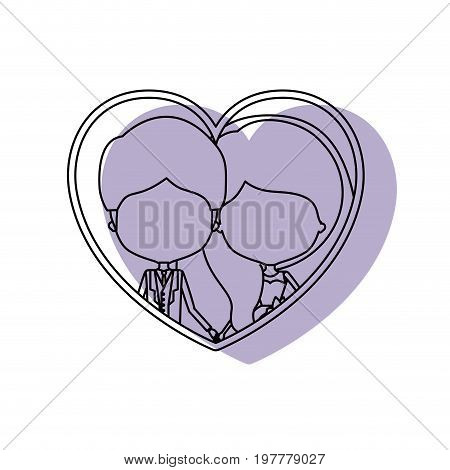 silhouette heart shape lilac shadow with contour faceless newly married couple inside of newly married couple young groom with formal wear and bride with wavy long hairstyle and holdings hands vector illustration