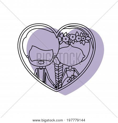 silhouette heart shape lilac shadow with contour faceless newly married couple inside of newly married couple bearded groom with formal wear and bride with side braided hairstyle and holdings hands vector illustration
