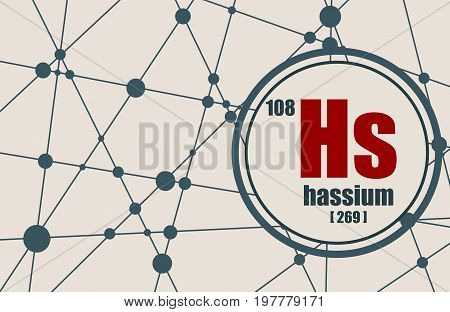 Hassium chemical element. Sign with atomic number and atomic weight. Chemical element of periodic table. Molecule And Communication Background. Connected lines with dots.