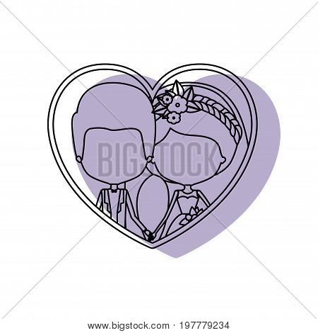 silhouette heart shape lilac shadow with contour faceless newly married couple inside of newly married couple groom with formal wear and bride with side ponytail hairstyle and holdings hands vector illustration