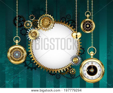 round light banner with a mechanical frame adorned with gears and an antique clock with gold chains on a green striped background. Steampunk style.