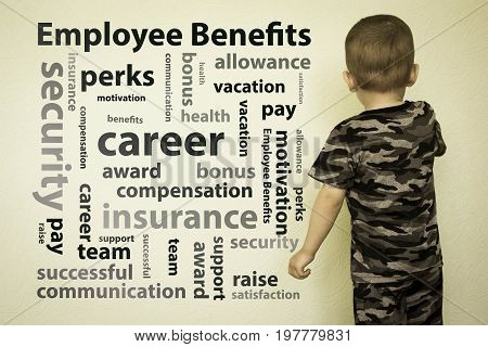 employee benefits concept. Photo for your design. The boy at the wall
