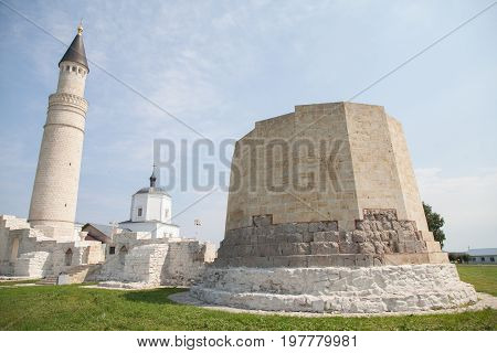 Beautiful mosque and church against the blue sky