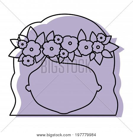 silhouette lilac color shadow of contour caricature closeup front view faceless woman with wavy short hairstyle and crown decorate with flowers vector illustration