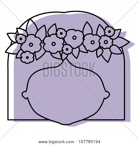 silhouette lilac color shadow of contour caricature closeup front view faceless woman with straigh short hairstyle and crown decorate with flowers vector illustration