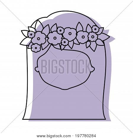 silhouette lilac color shadow of contour caricature closeup front view faceless woman with straigh medium hairstyle and crown decorate with flowers vector illustration