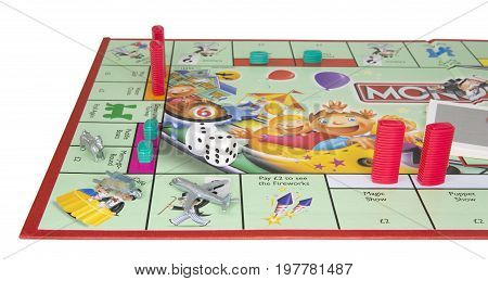 SWINDON UK - JULY 31 2017: Junior Monopoly Game an a white background