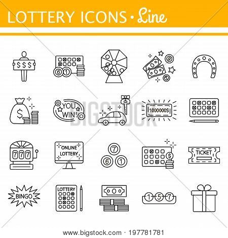 Lottery and profit fortune games icon set isolated on white background. Keno. Finance success rich, lottery and award, vector. Outline illustration of lottery concept for web design. Editable stroke.