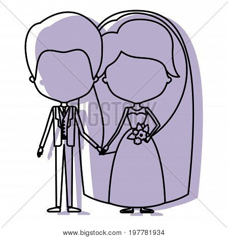 silhouette lilac color shadow of contour caricature faceless newly married couple groom with formal wear and bride with long hairstyle vector illustration