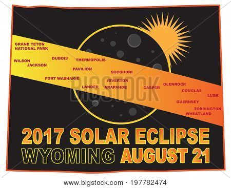 2017 Solar Eclipse Totality across Wyoming State cities map color illustration