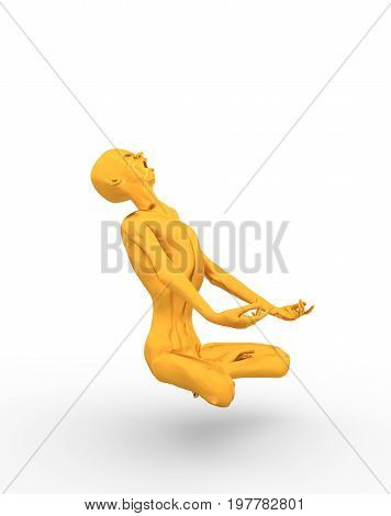 Posing horrified zombie. Golden metallic material. Undead man sit in meditation pose. 3D rendering.