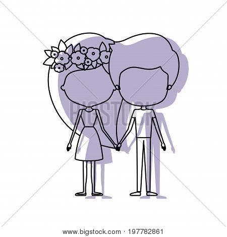 watercolor silhouette of caricature faceless couple standing and her in dress with long straight hair with floral crown and him in casual clothes vector illustration