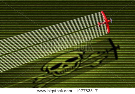 Pesticide and crop spraying danger concept as a duster spray eradicating agricultural pests with insecticides herbicide or fungicide as an airplane with a smoke trail casting a skull shadow as a 3D illustration.