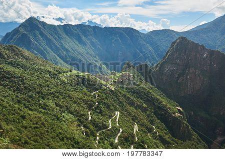 Machu Picchu mountain landscape on sunny day. Aerial panorama view on Machu Picchu