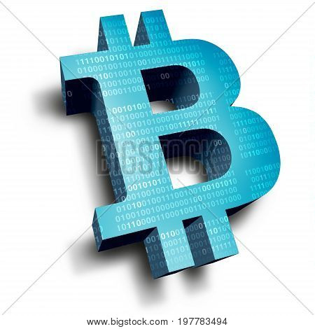 Bitcoin symbol cryptocurrency digital internet currency economic concept as online electronic money transaction from a banking database market as a 3D illustration.