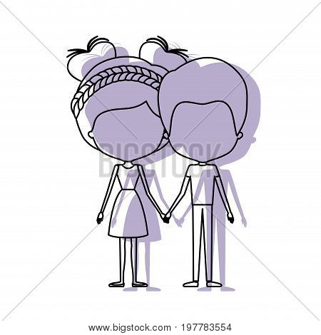 watercolor silhouette of faceless caricature couple standing and him with short hair and her with dress and double bun hairstyle vector illustration