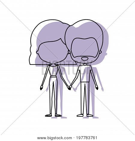 watercolor silhouette of faceless caricature couple standing and him with beard and her with pants and wavy short hairstyle vector illustration