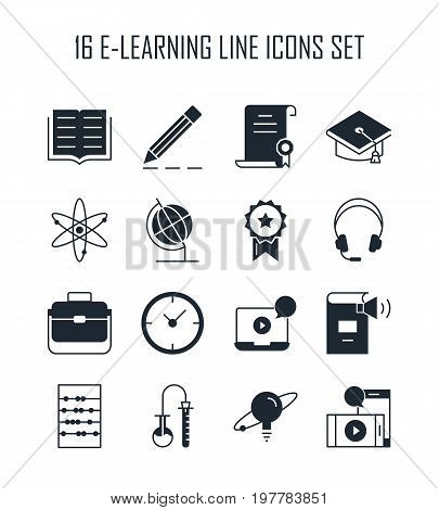 E-learning icon set. Collection of education silhouette icons. 16 high quality monochrome signs of training on white background. Pack of symbols for design website, mobile app, printed material, etc.