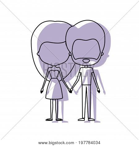 watercolor silhouette of faceless caricature couple standing and her with dress and long hair and him with beard vector illustration