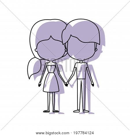 watercolor silhouette of faceless caricature couple standing and him with short hair and her with dress and ponytail hairstyle vector illustration