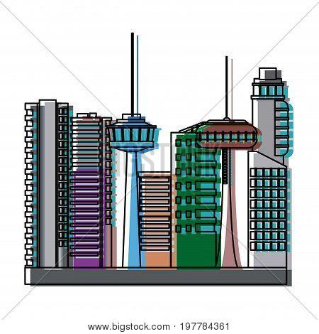 many storeyed urban store buildings modern vector illustration