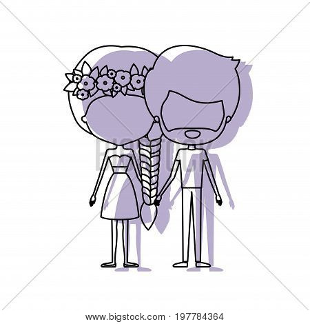 watercolor silhouette of faceless caricature couple standing and her in dress with braided hair with floral crown and him with beard vector illustration