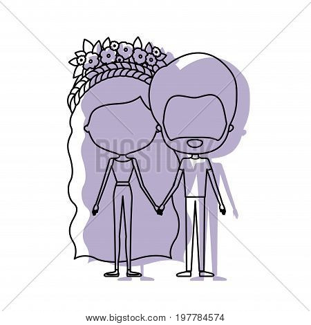 watercolor silhouette of faceless caricature couple standing and her in pants with long wavy hair with floral crown and him with beard vector illustration