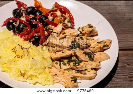 Spicy Chicken Diablo With Cilantro, Olives, Peppers, Garlic And Onion
