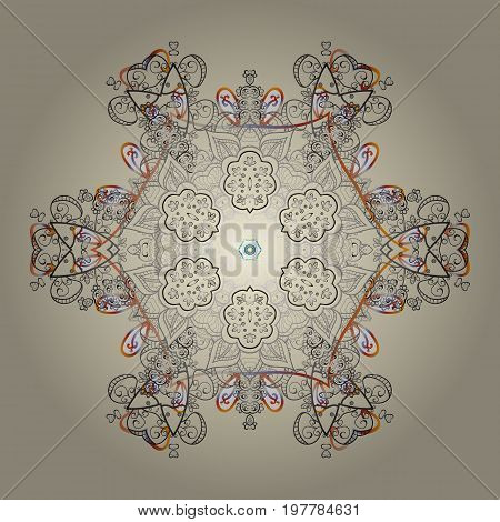 Christmas Stylized Snowflakes on a colorful background. Vector illustration.