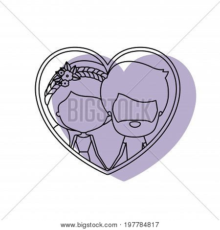 watercolor silhouette heart shape portrait with caricature faceless couple and him with short hair and beard and her with ponytail hairstyle and floral crown accesory vector illustration