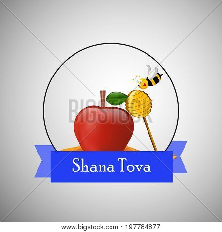 illustration of bee, pigeon, honey, apple, pomegranate, shofar with shana tova text on the occasion of Jewish New Year Shanah Tovah. Translation: a good year