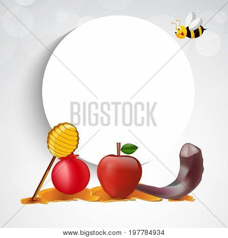 illustration of bee, honey, apple, pomegranate, shofar, moon on the occasion of Jewish New Year Shanah Tovah. Translation: