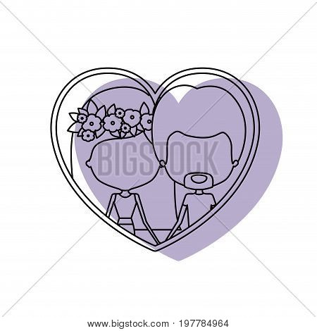watercolor silhouette heart shape portrait with caricature faceless couple and her with medium straight hair and floral crown accesory and him with van dyke beard vector illustration