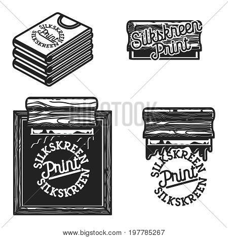 Vintage silkskreen print emblems. Vector illustration, EPS 10
