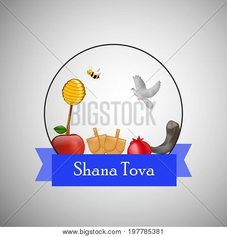 illustration of bee, pigeon, honey, apple, pomegranate, shofar with shana tova text on the occasion of Jewish New Year Shanah Tovah. Translation: