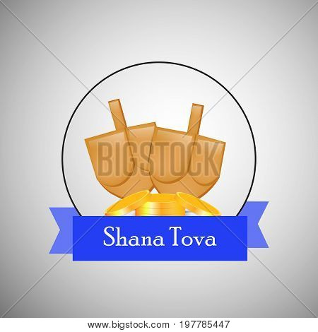 illustration of honey with shana tova text on the occasion of Jewish New Year Shanah Tovah. Translation: a good year