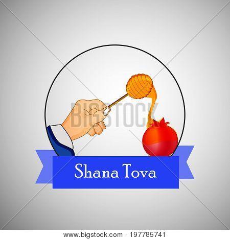 illustration of hand honey, pomegranate with shana tova text on the occasion of Jewish New Year Shanah Tovah