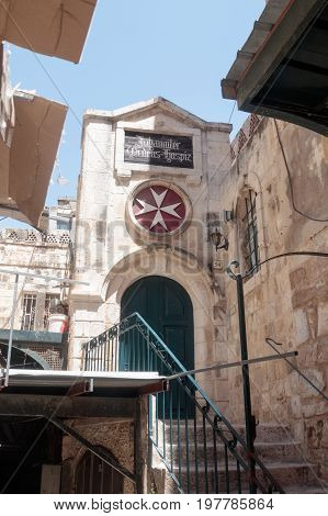 Entrance to German Hospice of the Order of St. John on the St. Francis Street - Via dolorosa in the old city of Jerusalem Israel.