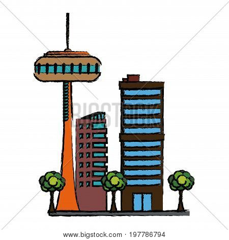 buildings urban business or residence and tree nature vector illustration