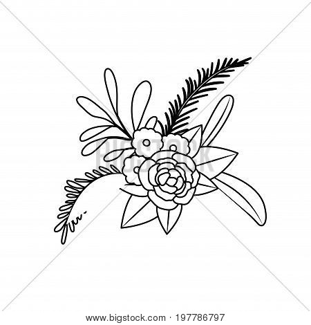 white background with monochrome silhouette of floral ornament with several flowers and branches vector illustration