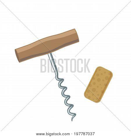 Wine corkscrew and cork colorful illustration. Vector